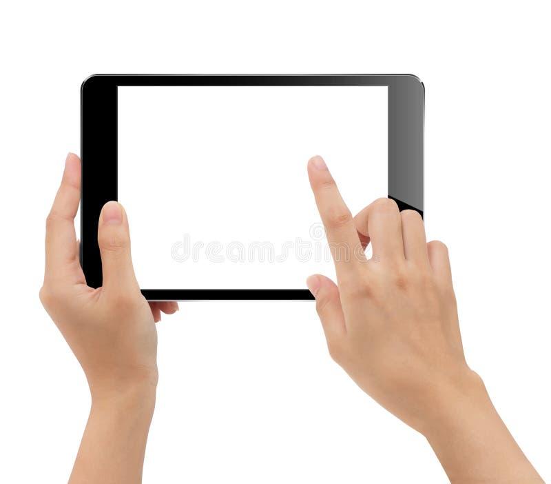 A mão do close-up que guarda a tabuleta isolou o grampeamento branco do fundo imagens de stock