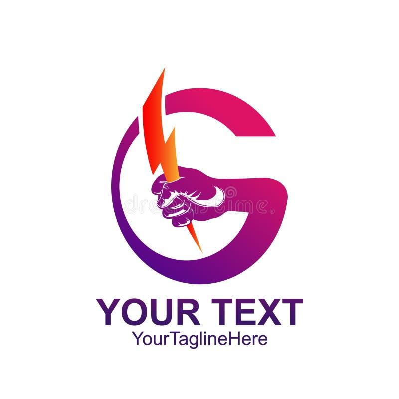 Mão do colorfull do molde do logotipo de G da letra inicial que guarda a iluminação de b ilustração stock
