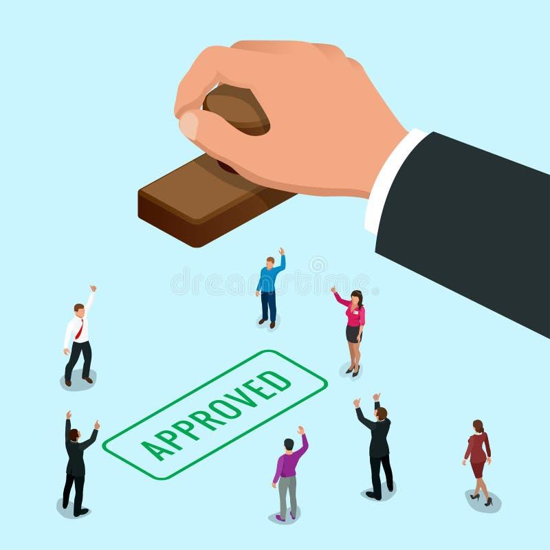 Mão do conceito de Isometirc do homem de negócio que carimba palavra aprovada em um papel Vetor liso do selo aprovado isométrico ilustração stock