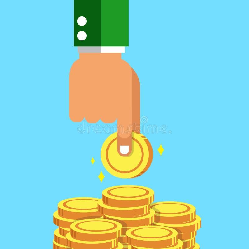 Mão do conceito do negócio com as pilhas da moeda do dinheiro ilustração royalty free
