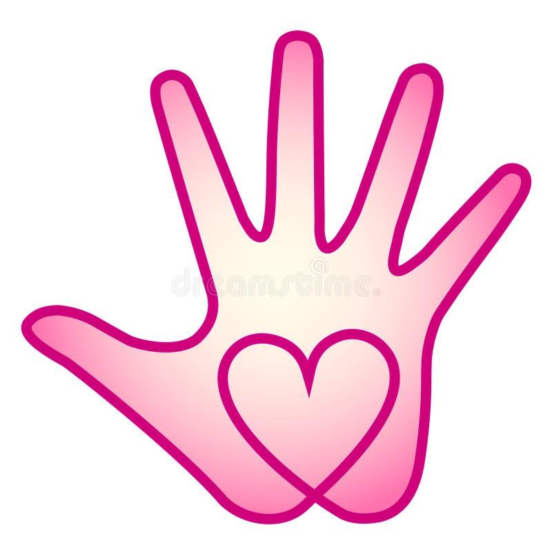 Mão do coração ilustração stock