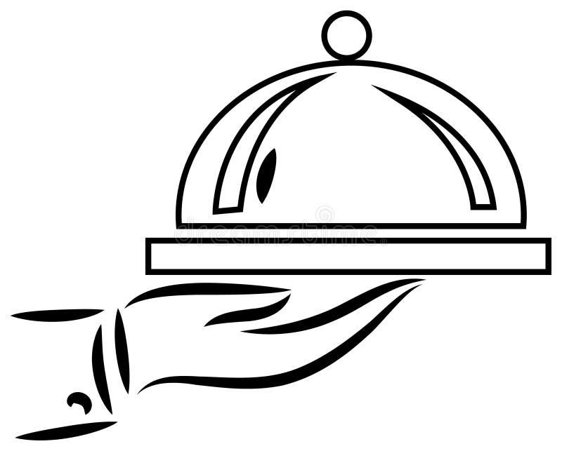 Mão do cozinheiro chefe com placa ilustração stock