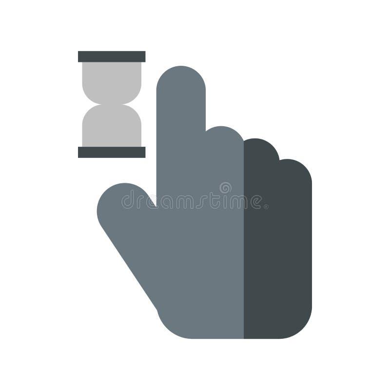 Mão do cursor no ícone da antecipação, estilo liso ilustração stock