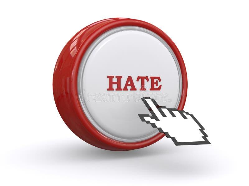 Mão do cursor no botão do ódio ilustração royalty free