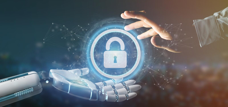 Mão do Cyborg que guarda um ícone da segurança da tecnologia em uma rendição do círculo 3d imagens de stock