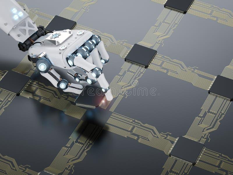 Mão do Cyborg que trabalha com processador central ilustração do vetor