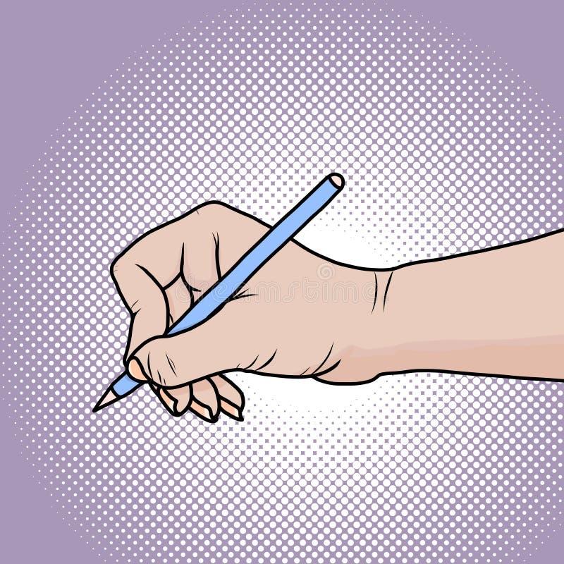Mão do desenho com lápis Ilustração no estilo cômico do pop art ilustração royalty free