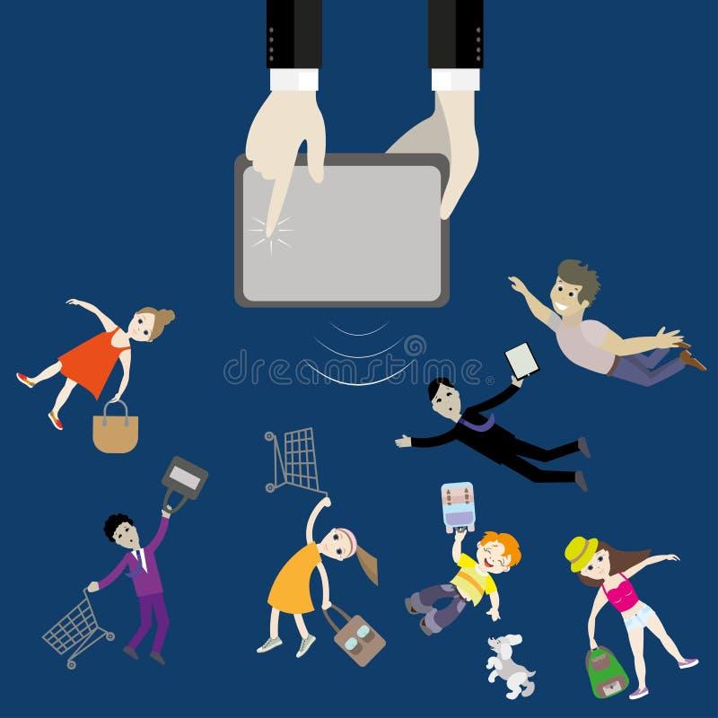 A mão do dispositivo atrai jovens, compradores Conceito do negócio ilustração do vetor