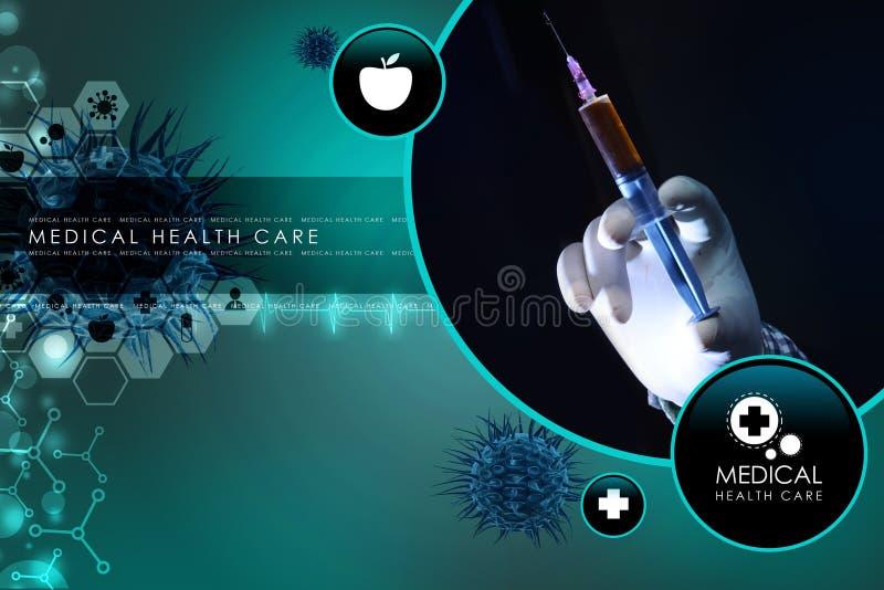 Mão do doutor com seringa ilustração do vetor