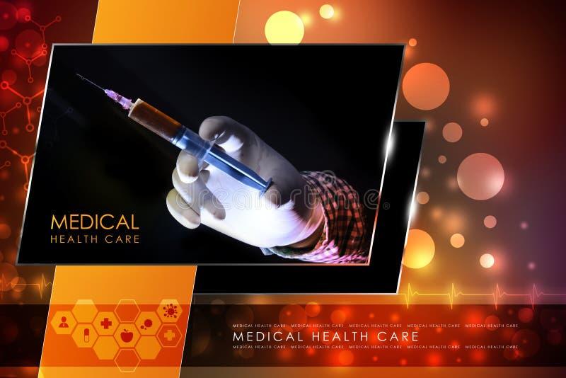 Mão do doutor com seringa ilustração stock