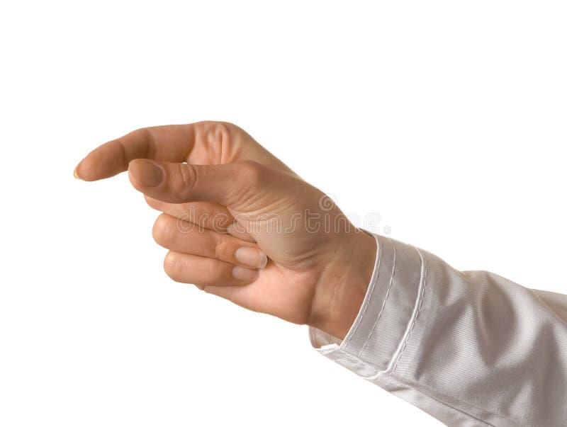 A mão do doutor da mulher está guardando algo no fundo isolado branco Gestos de mão fotos de stock royalty free