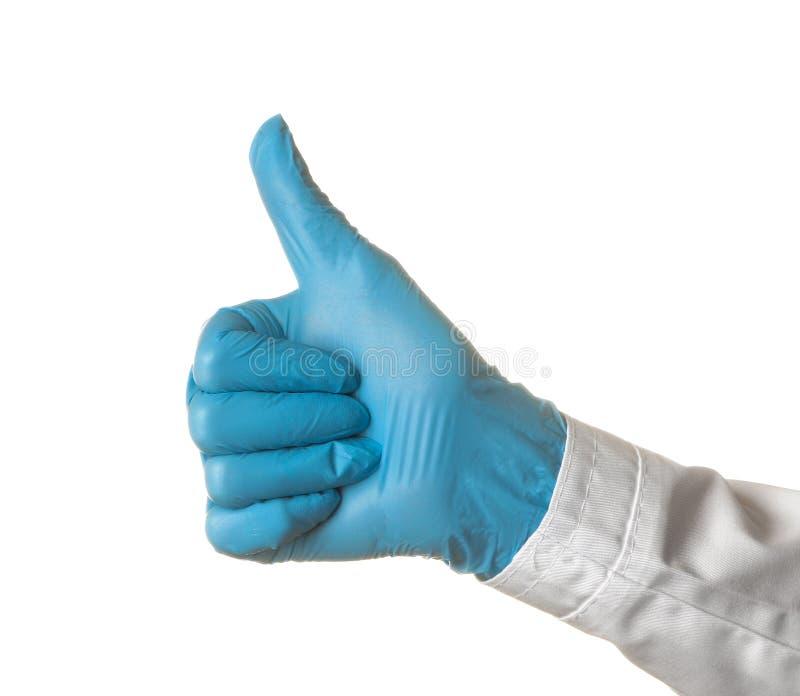 A mão do doutor da mulher mostra o polegar acima no fundo isolado branco Gestos de mão imagem de stock royalty free