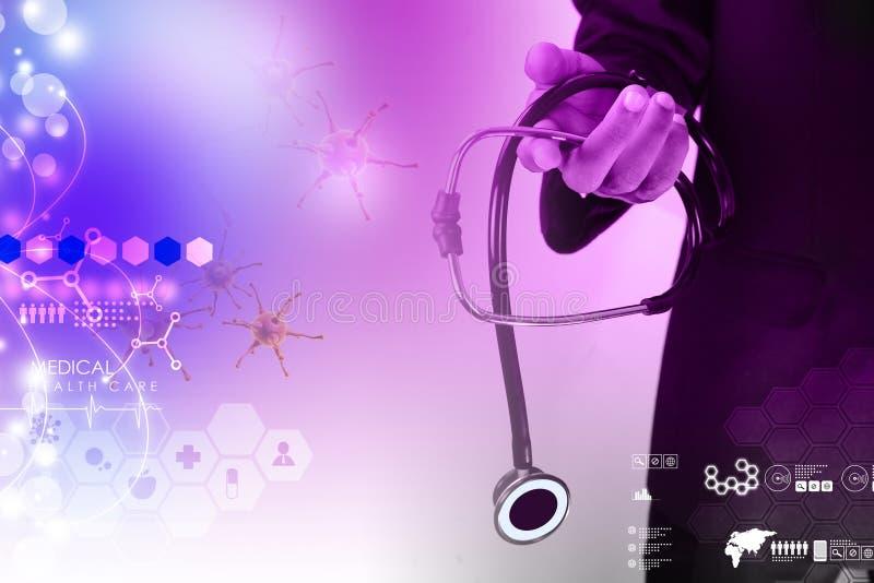 Mão do doutor que mostra o estetoscópio ilustração do vetor