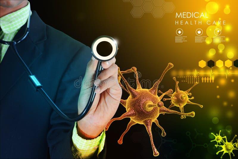 Mão do doutor que mostra o estetoscópio foto de stock