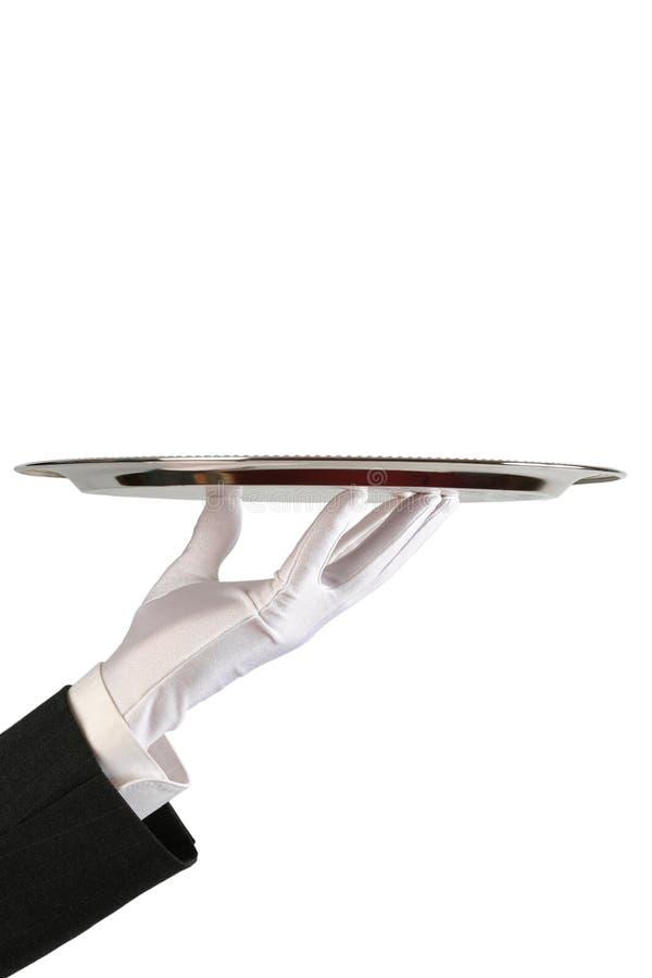 Mão do empregado de mesa com prato fotos de stock royalty free