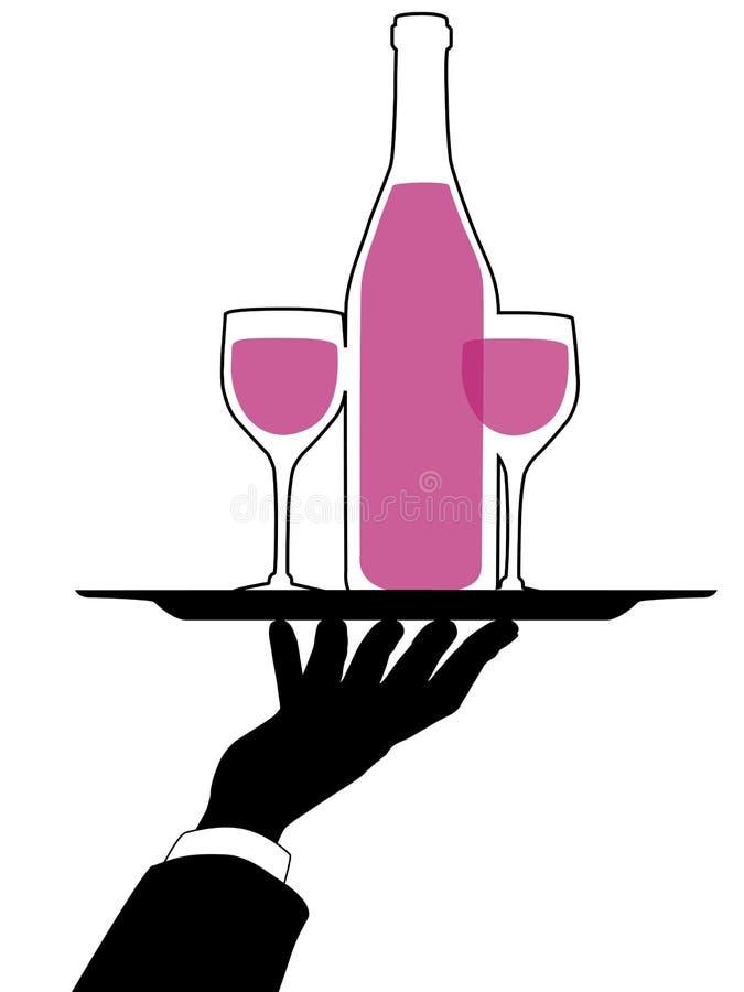 A mão do empregado de mesa prende a silhueta da bandeja do vinho ilustração royalty free