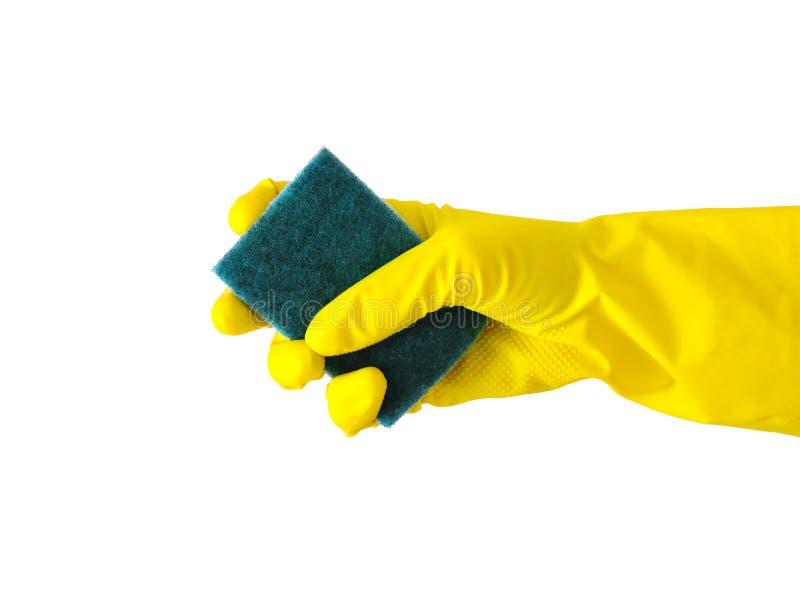 M?o do empregado na luva protetora de borracha com o micro pano da fibra que limpa a parede da limpeza da poeira ou do conceito d fotografia de stock royalty free
