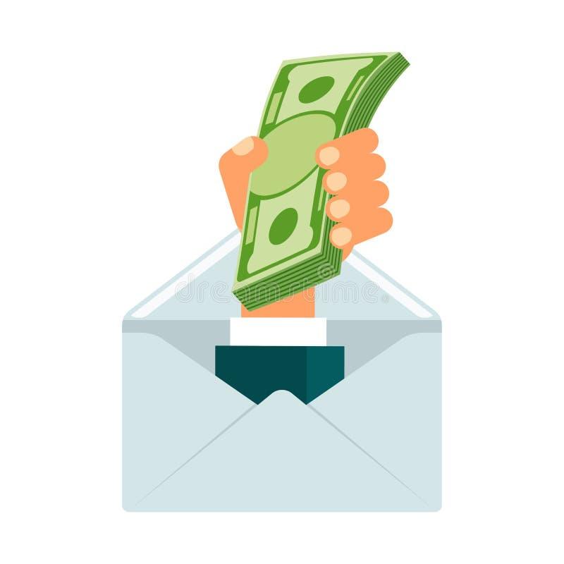 Mão do envelope com dólares ilustração royalty free