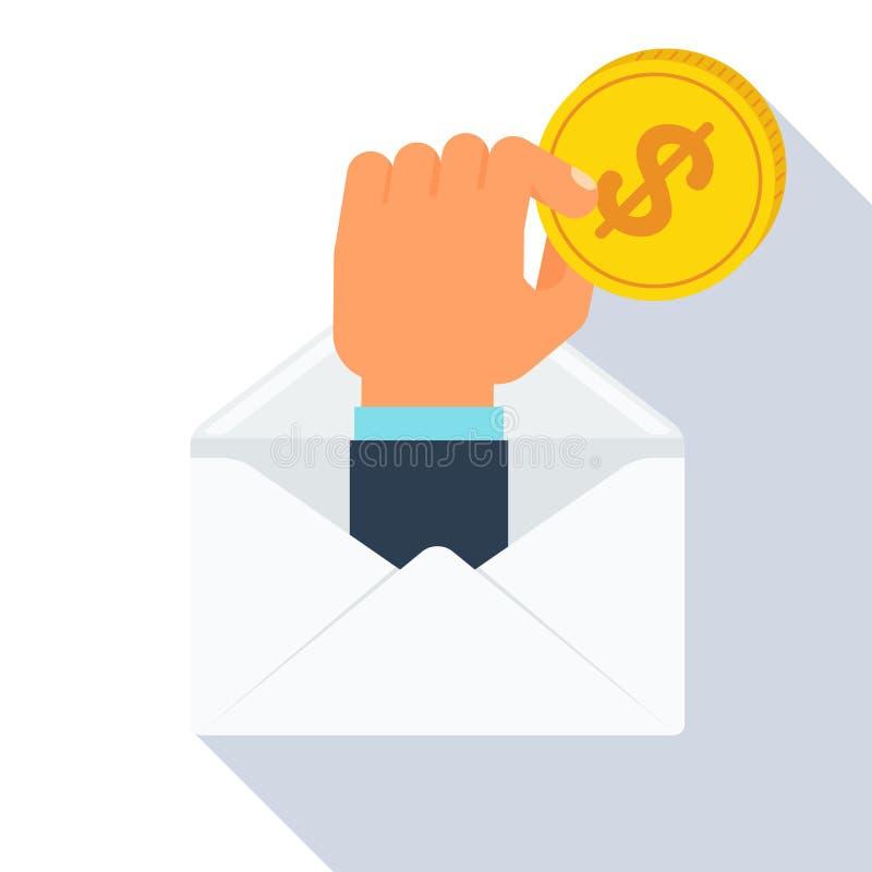 Mão do envelope com moeda ilustração do vetor