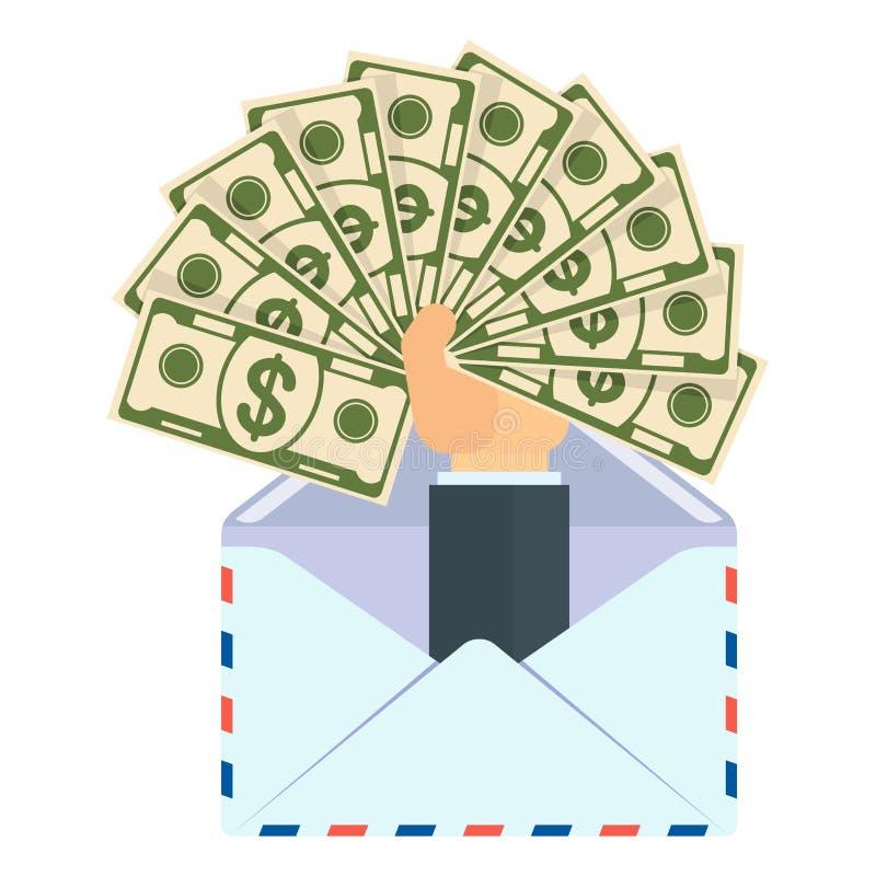 Mão do envelope com o fã do dinheiro ilustração stock