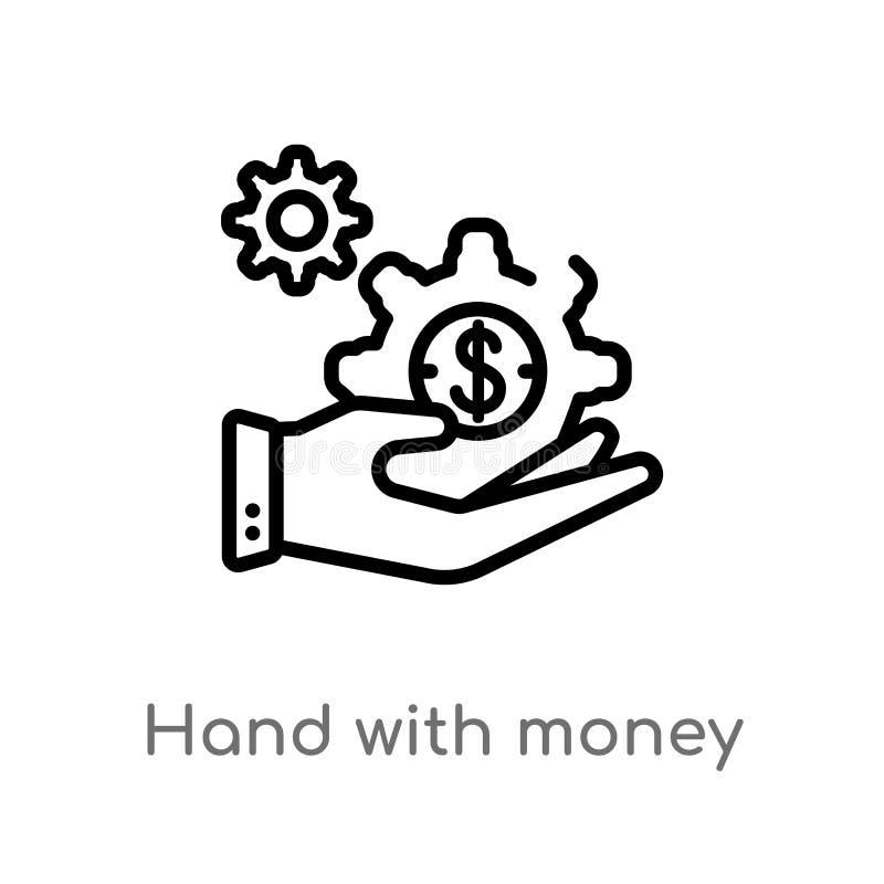 m?o do esbo?o com ?cone do vetor da engrenagem do dinheiro linha simples preta isolada ilustra??o do elemento do conceito do neg? ilustração do vetor