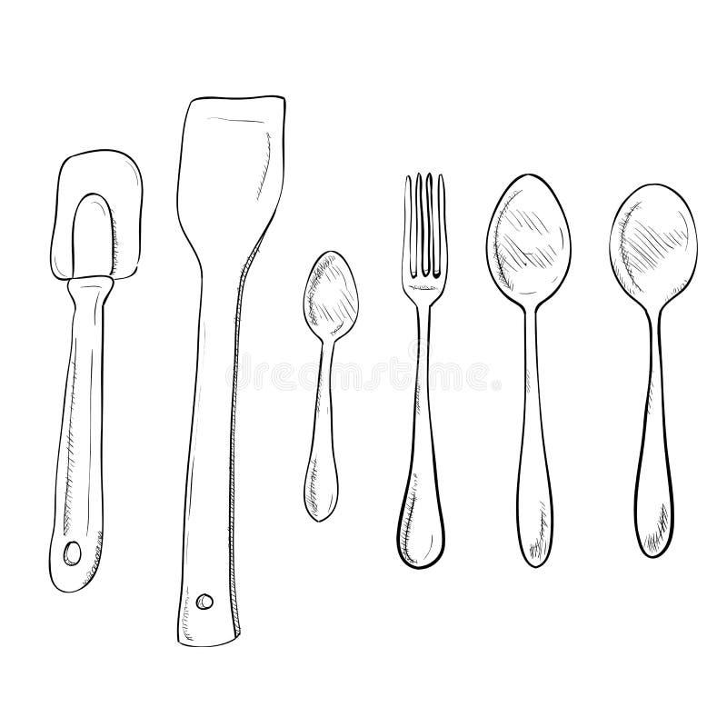 Mão do esboço do vetor tirada de utensílios da cozinha ilustração royalty free