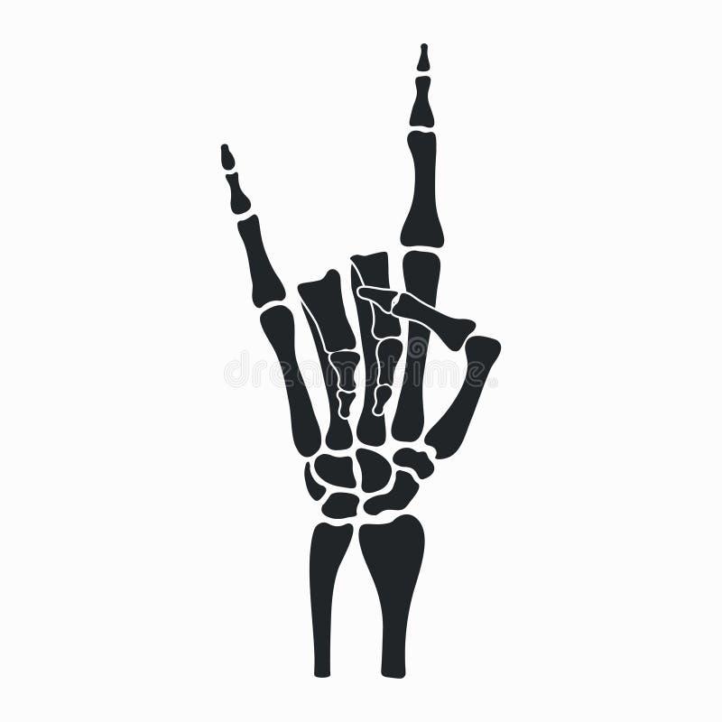 Mão do esqueleto da rocha Sinal do metal pesado - chifres Rocha-n-rolo ilustração do vetor