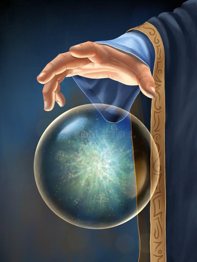 A mão do feiticeiro que interage com uma esfera mágica de flutuação ilustração do vetor