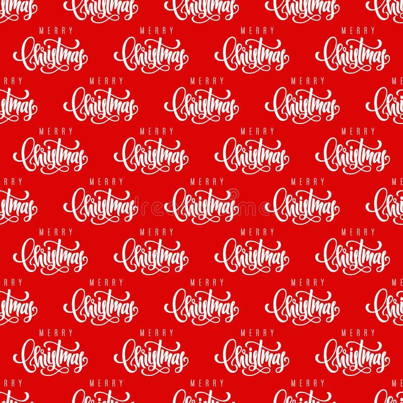 Mão do Feliz Natal que rotula o fundo sem emenda do teste padrão Molde para um cartão, bandeira, cartaz, caderno, convite ilustração do vetor