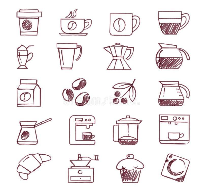 Mão do grupo dos ícones do café tirada com as escovas de alta qualidade do ilustrador do vetor fotografia de stock royalty free