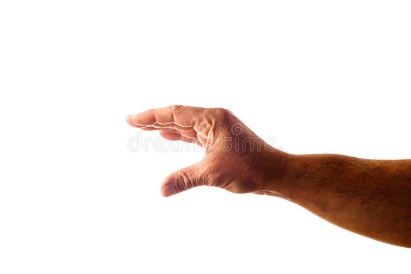 Mão do homem adulto que mostra o gesto isolado no branco imagens de stock royalty free