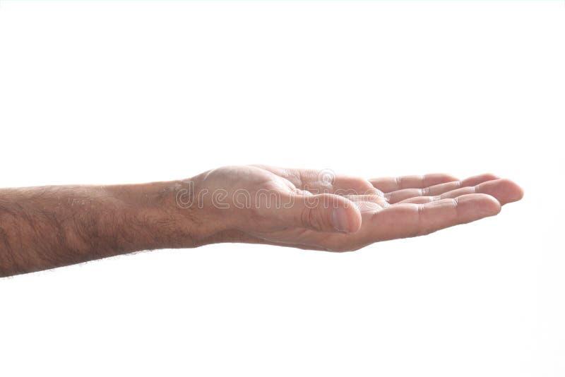 A mão do homem caucasiano aberto no fundo branco com espaço da cópia imagens de stock