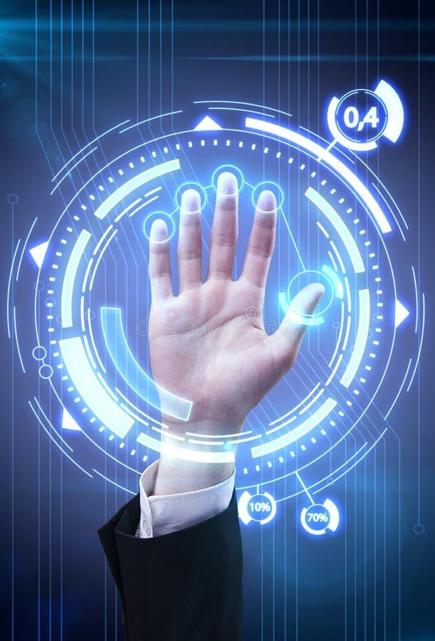 Mão do homem da varredura da tecnologia para a segurança ilustração stock