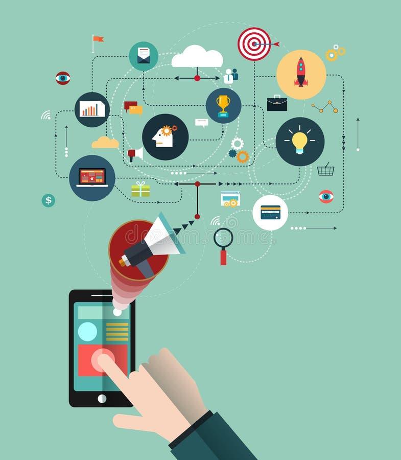 Mão do homem de negócio com o telefone ilustração stock