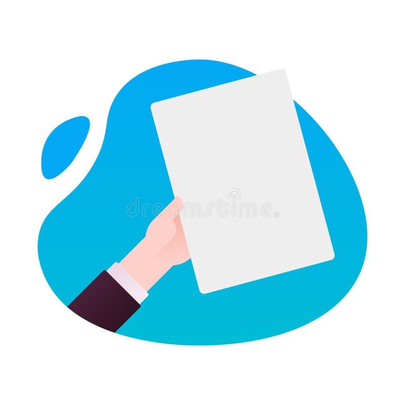 Mão do homem de negócio que guarda a ilustração vazia do vetor do molde do modelo de papel, lista da folha a4 vazia sem texto, co ilustração stock