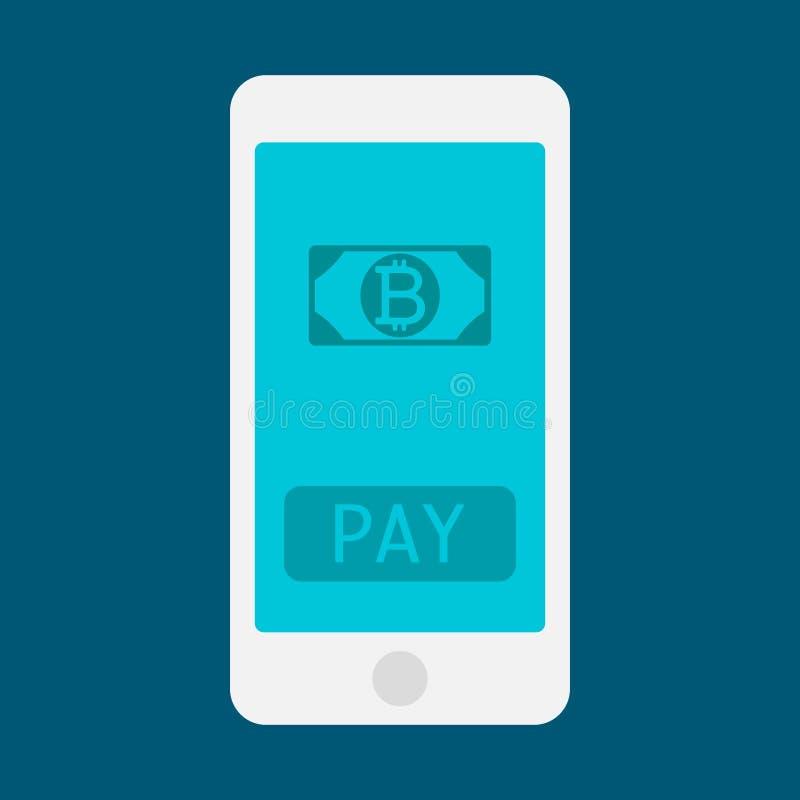 Mão do homem de negócio que guarda o smartphone com ícone do bitcoin no modelo liso do projeto do dispositivo móvel da tela Vetor ilustração do vetor