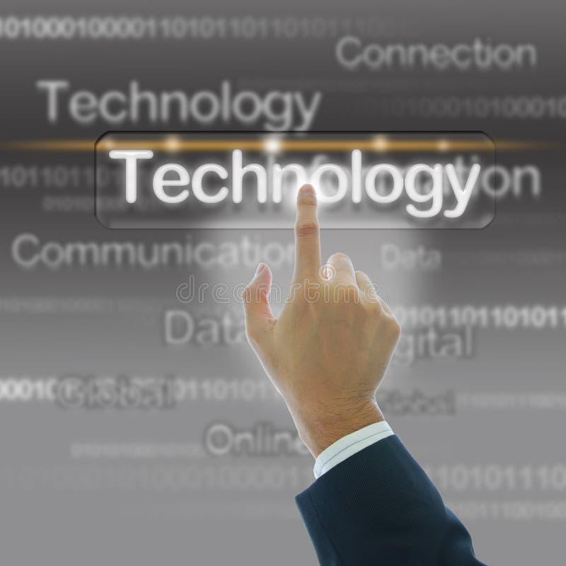 Mão do homem de negócios com fundo da tecnologia imagens de stock royalty free