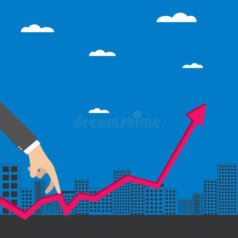 Mão do homem de negócios como o dedo que anda em gráficos crescentes ilustração stock