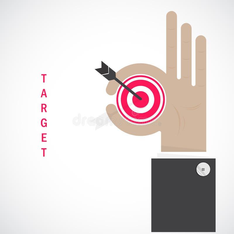 A mão do homem de negócios mostra o símbolo do alvo como o conceito do negócio Han aprovado ilustração do vetor