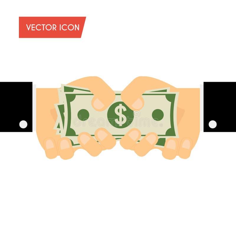 Mão do homem de negócios que dão o dinheiro e mão que recebe o dinheiro Financiamento, b ilustração royalty free
