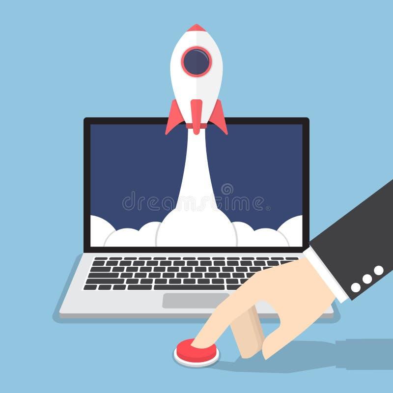 Mão do homem de negócios que empurra o botão para lançar o foguete do portátil ilustração stock