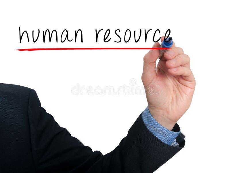 Mão do homem de negócios que escreve recursos humanos no ar fotos de stock royalty free