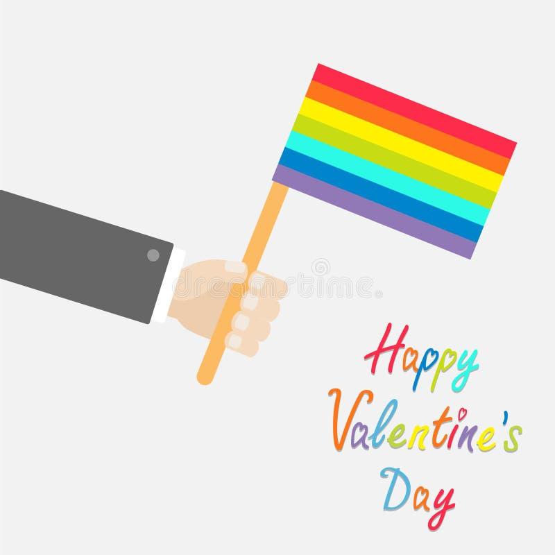Mão do homem de negócios que guarda a bandeira do orgulho alegre do arco-íris Cartão feliz do dia de Valentim do estilo liso do p ilustração royalty free