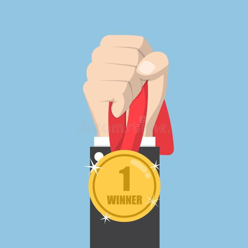Mão do homem de negócios que guarda a medalha do vencedor ilustração royalty free