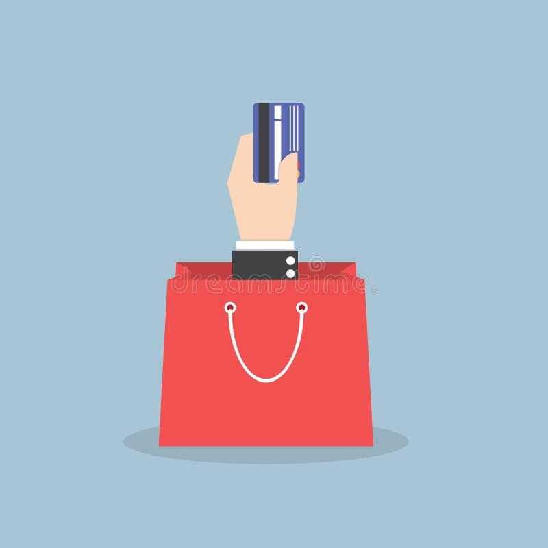 Mão do homem de negócios que guarda o cartão de crédito com saco de compras ilustração royalty free