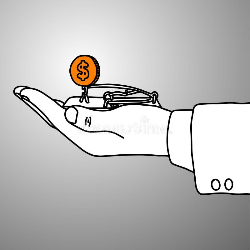 Mão do homem de negócios que guarda a ratoeira com vetor dourado IL da moeda ilustração do vetor