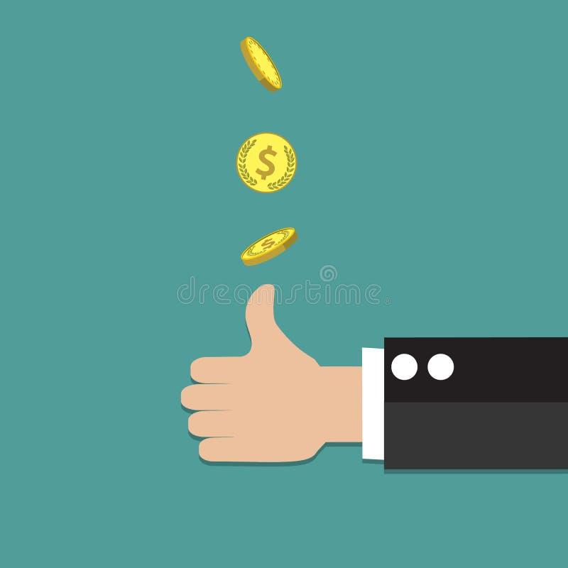 Mão do homem de negócios que joga acima uma moeda ilustração do vetor