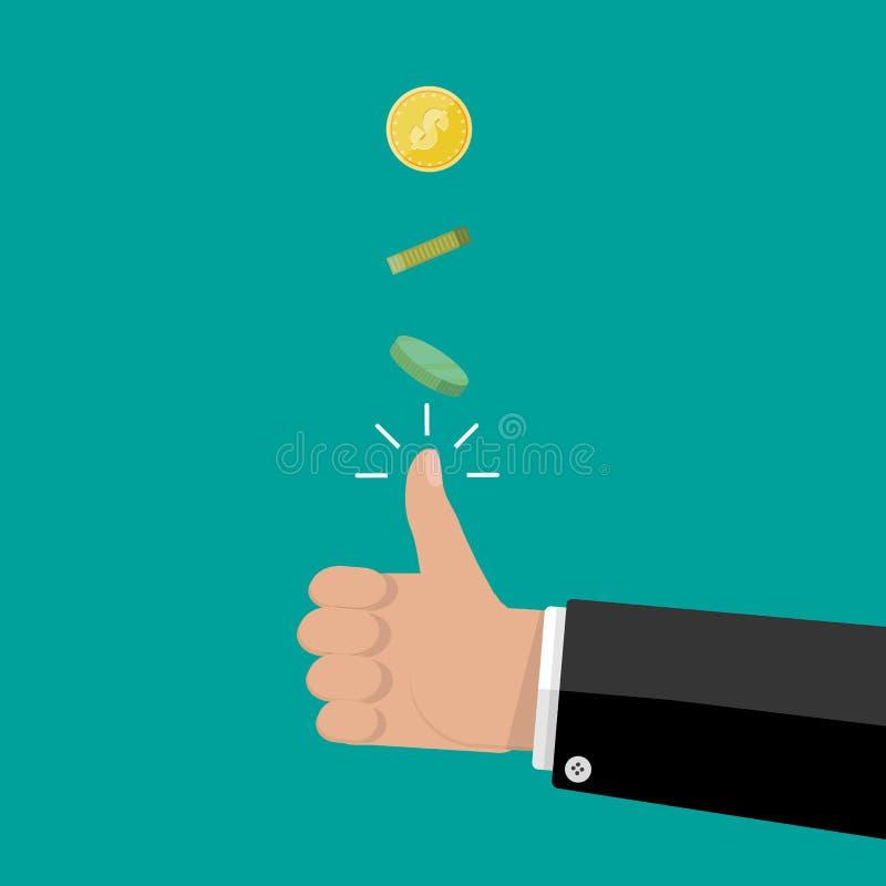 Mão do homem de negócios que lanç uma moeda ilustração royalty free