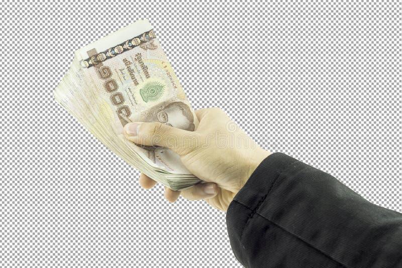 Mão do homem de negócios que mantém o dinheiro e o homem que guardam uma carteira no fundo branco fotos de stock royalty free