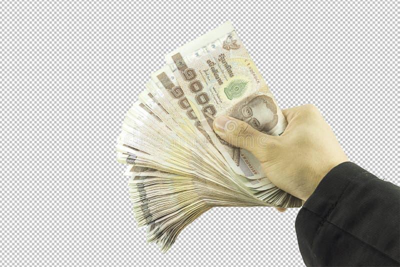 Mão do homem de negócios que mantém o dinheiro e o homem que mantêm uma carteira isolada no fundo branco fotografia de stock royalty free